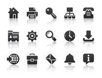 Internet icons. Black internet icons with reflections Royalty Free Stock Photo