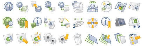 Internet icons. Vector Icons based on a 3 color palette + gradients illustrates internet connectivity, file formats, users, multimedia, help, bookmarks Stock Image