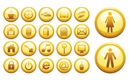 Internet icons. Vector internet yellow glass icon set Royalty Free Stock Image