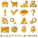 Internet icons. Set of yellow web icons Royalty Free Stock Photos