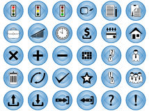 Internet icons. Illustration of internet icons, buttons, blue Stock Photography