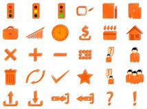Internet icons. Illustration of internet icons, orange Royalty Free Stock Photos