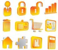 Internet icons. Illustration of internet icons, orange Stock Images