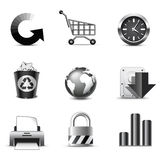 Internet icons | B&W series. Set of 9 internet and web icons Royalty Free Stock Photography