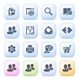 Internet icons on color buttons. Stock Photo