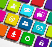 Internet icons. Colorful Internet icons on keyboard button Royalty Free Stock Image