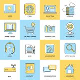 Internet Icons Flat Line Stock Photography