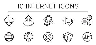 10 Internet Icons. Flat and Thin Line Internet Icon Designs vector illustration