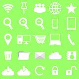 Internet icons on green background Royalty Free Stock Photo