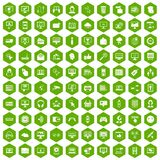 100 internet icons hexagon green. 100 internet icons set in green hexagon isolated vector illustration Royalty Free Stock Photography