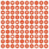 100 internet icons hexagon orange. 100 internet icons set in orange hexagon isolated vector illustration Stock Image
