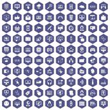 100 internet icons hexagon purple. 100 internet icons set in purple hexagon isolated vector illustration Stock Images