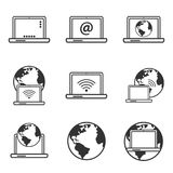 Internet icons, laptop and earth globe icon Stock Images