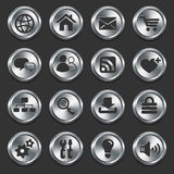 Internet Icons on Metal Buttons Stock Image