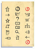 Internet icons on an old paper Royalty Free Stock Image