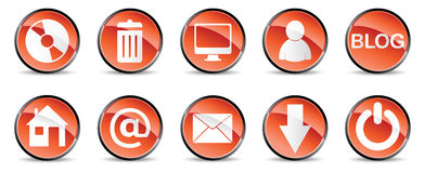 Internet icons in red Royalty Free Stock Image