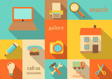 Internet icons in retro style Royalty Free Stock Photos