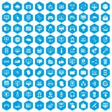100 internet icons set blue. 100 internet icons set in blue hexagon isolated vector illustration royalty free illustration