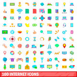 100 internet icons set, cartoon style Stock Photo