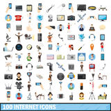 100 internet icons set, cartoon style. 100 internet icons set in cartoon style for any design vector illustration Stock Photos