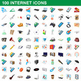 100 internet icons set, cartoon style. 100 internet icons set in cartoon style for any design vector illustration Stock Photo