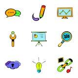 Internet icons set, cartoon style Stock Image