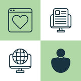 Internet Icons Set. Collection Of Followed, Global, Blog Page And Other Elements. Also Includes Symbols Such As User Royalty Free Stock Photography