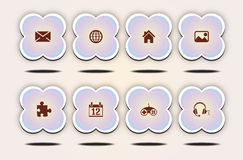 Internet Icons set, cute flower style Stock Photos