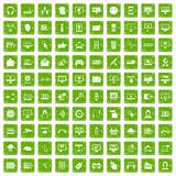 100 internet icons set grunge green. 100 internet icons set in grunge style green color isolated on white background vector illustration Stock Image