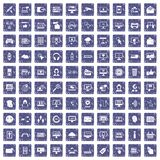 100 internet icons set grunge sapphire. 100 internet icons set in grunge style sapphire color isolated on white background vector illustration Stock Illustration