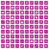 100 internet icons set grunge pink. 100 internet icons set in grunge style pink color isolated on white background vector illustration Stock Illustration