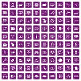 100 internet icons set grunge purple. 100 internet icons set in grunge style purple color isolated on white background vector illustration Stock Image