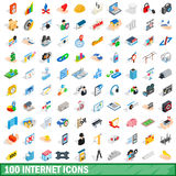 100 internet icons set, isometric 3d style. 100 internet icons set in isometric 3d style for any design vector illustration royalty free illustration