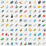 100 internet icons set, isometric 3d style Royalty Free Stock Image