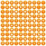 100 internet icons set orange. 100 internet icons set in orange circle isolated on white vector illustration Royalty Free Stock Images