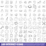 100 internet icons set, outline style Stock Photos