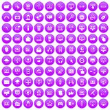 100 internet icons set purple. 100 internet icons set in purple circle isolated on white vector illustration Stock Image