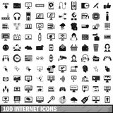 100 internet icons set in simple style Royalty Free Stock Photos
