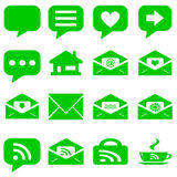 Internet icons set - website green buttons vector - message icon Stock Images