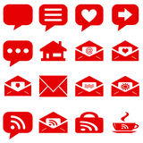 Internet icons set - website red buttons vector - message icon Stock Photo