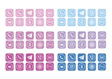 Internet Icons Social Media Complete Vector Illustration Set Colorful Pink Blue Purple. Internet Icons Social Media Complete Vector Illustration Social Media Web Stock Photography