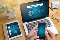Internet-Ikone Smart knöpft Ikone, VERNETZUNG Lizenzfreie Stockbilder