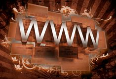 Internet Illustration. Artistic Graphic Composition with Letters WWW, Glassy Blocks, Rays and Floral Ornaments. Old Browny Vintage Style. 3D Render Stock Image