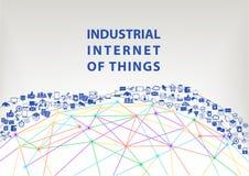 Internet industrial do fundo da ilustração das coisas Conceito do World Wide Web Foto de Stock Royalty Free