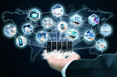Internet Information Technology. Businessman hand showing the Concept of Internet and Information Technology