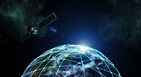 Internet Information technology. Image with outer space network connection over planet earth Stock Image