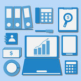 Internet investor at home office color icons Royalty Free Stock Image