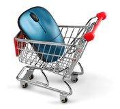 Computer Mouse in a Shopping Cart Royalty Free Stock Photo