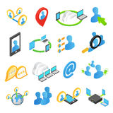 Internet isometric 3d icons set. Online chat web communication  on a white background Royalty Free Stock Photos