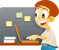 Internet kid. Vector illustration of a boy operating a notebook on class